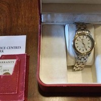 ONETOW Omega Seamaster Watch- WHITE FACE- 18K and Stainless Men?Quartz- Box and Papers
