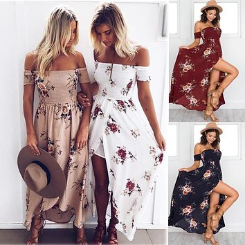 Maikun Brand New Fashion Short Sleeve Dress for Women Floral Printed Strapless Long Dress 7 Colors S-5XL