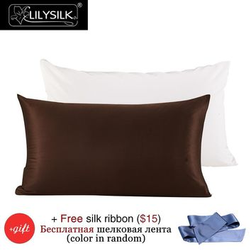 Lilysilk Mulberry Silk Cotton Pillowcase Charmeuse Satin 22 Momme Silk Pillow Cover Cotton Underside King Queen Free Shipping