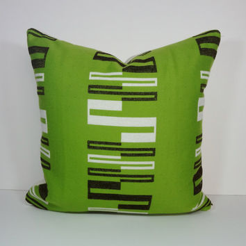Designer Sunbrella, Alaxi, Decorative Pillow Cover, Green, Brown Cushion Cover, Kelly Green, 20 x 20