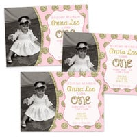 Vintage Pink 1st Birthday Girl Invitation - Photo One Birthday Invitations - First Sweetheart February - Gold Glitter Dots Pink Sparkle