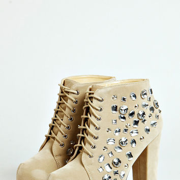 Mya Sequin Lace Up Boot
