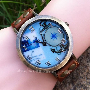 Navy anchor watches, symbol of man's watch, the real leather watch, the best watch