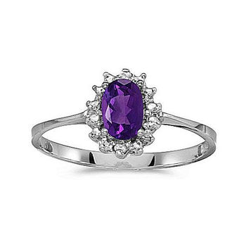 14kt White Gold 6/4mm Amethyst and Diamond Ring