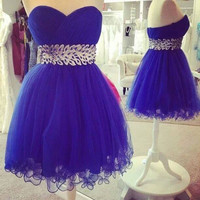 Royal Blue Sweetheart Tulle Homecoming Dresses with Beadings