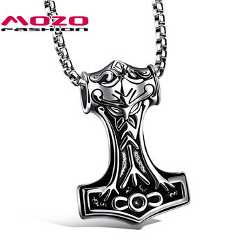 New 2016 Men Stainless Steel Thor Hammer Pendant Choker Necklace Colar Rock Style Statement Necklace Jewelry Accessories MGX1072