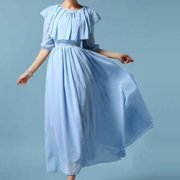 Ruffled Collar Falbala Lantern Sleeve Women's Maxi Dress