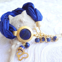 Lapis Lazuli Bracelet-Turkish Silk Bracelet-Gold Plated Bracelet-Stylish Bracelet