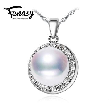 FENASY Pearl Jewelry Big Pearl Trendy Natural Pearl Pendant Necklace For Women 2018 New best friends pendant wedding