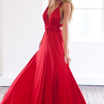 Cross Back V-Neck Chiffon Red Prom Dresses
