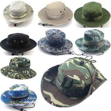 Sun Hats Cap Men Women Camouflage Bucket Hat With String Fisherman Cap Military Panama Safari Boonie
