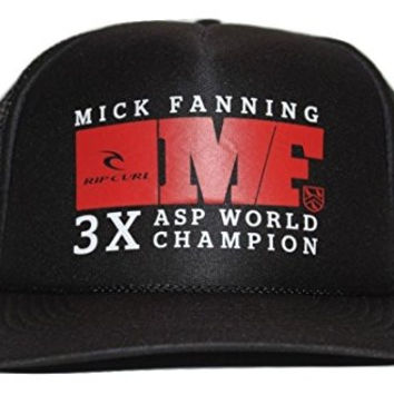 Rip Curl Men's Mick Fanning MF 3X Surfing ASP World Champion Trucker Hat Cap - Black