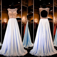 A-line Open Back Beaded Champagne Bodice Sky Blue Chiffon Skirt Prom Dress APD1638