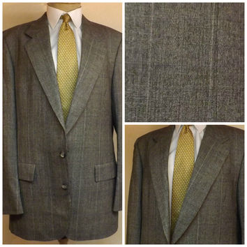 60s Vintage Hart Shaffner Marx Mens Wool 2 pc Gray Check Suit Size 40R