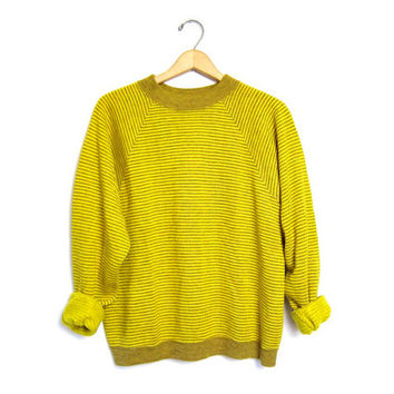 Retro Striped Sweater Slouchy 80s Hipster Boyfriend Raglan Sweater Yellow Green Crewneck Pullover Vintage Mens Large