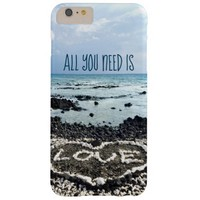 """""""Need Love"""" Quote Hawaii Beach & Coral Heart Photo Barely There iPhone 6 Plus Case"""