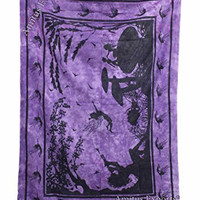 """Amitus Exports ® 1 X Tie Dye Fairy Lady 77""""X53"""" Approx. Inches Purple Color Cotton Fabric Multi-Purpose Handmade Tapestry Hippy Indian Mandala Throws Bohemian Tapestries"""