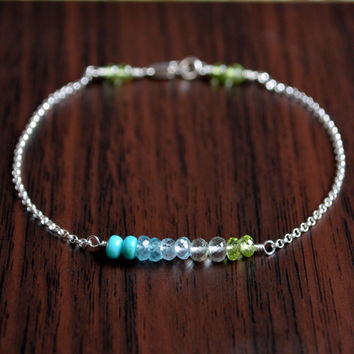 NEW Dainty Silver Bracelet, Turquoise, Blue Topaz, Peridot, Real Gemstone Row, Simple Sterling Jewelry, Free Shipping