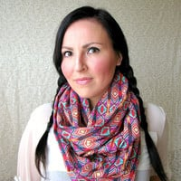 Fall Fashion Infinity Scarf, Tribal Ethnic print, Loop Scarf, aztec scarf