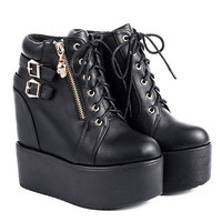 Black Skull and Zipper Design Boots With Platform