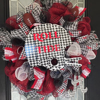 Alabama Football Wreath, Alabama Decoration, Alabama Door Hanger, Roll Tide, Fall Wreath, Deco Mesh Wreath, Made to Order