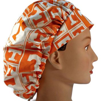 Women's Bouffant, Pixie, or Ponytail Surgical Scrub Hat Cap in Tennessee Volunteers Squares
