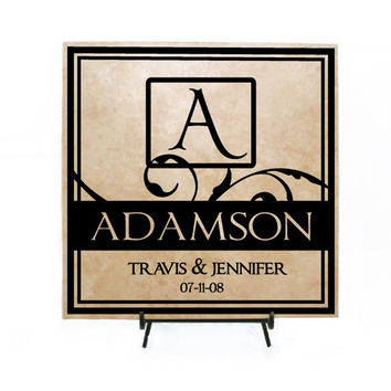 Personalized Wedding Gift, Custom Established Date Sign, Personalized Tile Sign, Wedding Decor, Vinyl Wall Decal, Name Tile