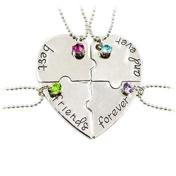 New Popular Jewelry four parts of the puzzle Heart shaped inlay rhinestones pendant Best Friends Forever and ever Necklace