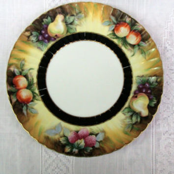 Lefton Gold Fruit Plate |  Hand Painted | Japan | Black Ring