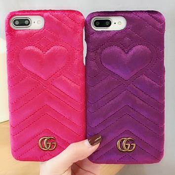 GUCCI VELET COLORFUL Popular logo fluffy love iphone7 gucci leather iphone7plus phone shell iphoenX protector.Purple