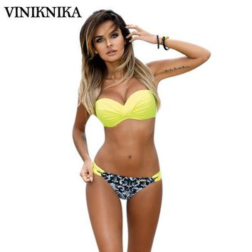 ONETOW VINIKNIKA 2017 Summer Bikini Sexy Ladies Low Waist Swimsuit Beach Harness with Steel Tray Chest Pad Gather Together Bikini Suit