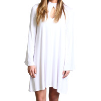 White Piko Keyhole Bell Sleeve Dress