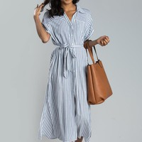 Laurie Navy Stripe Button Maxi Dress