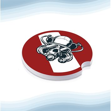 Diver Skull Red No Text Car Cup Holder Ceramic Coasters (Set of 2)