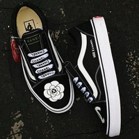 Vans x Chanel Classics Old Skool Flower Flats Shoes Sneakers Sport Shoes