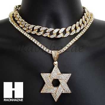 Hip Hop Iced Out Premium David Star Miami Cuban Choker Tennis Chain Necklace K