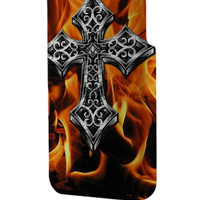 Best 3D Full Wrap Phone Case - Hard (PC) Cover with Ornate Celtic Cross Vector on Fire Burn Design