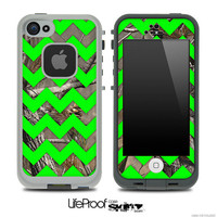 Camo & Lime Green Chevron Print Skin for the iPhone 4/4s or 5 LifeProof Case