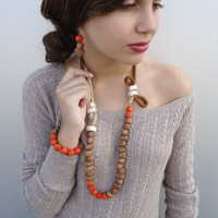 Statement jewelry in earthy colors. Statement set, statement uniquely crochet necklace, elegant set. Gift for her.