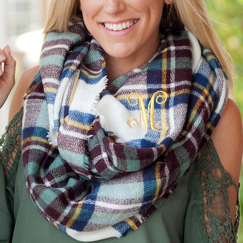 Monogrammed Scarf ~ Personalized Scarf ~ Infinity Scarf ~ Free Personalization of Monogram or Single Initial ~ Londyn Plaid Scarf