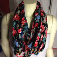 Rose floral infinity scarf