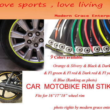 """9 Colors,18 Stripes 14""""-18"""" Wheel Rim Decal Sticker for Car & Motorcycle,Best Car Styling,Strong blister pack,Free Shipping"""