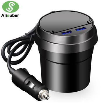 Alisuber Black Car Charger Built-in Ashtray Dual USB 3.1A Cup Design Phone Holder Car Charge For Smartphones