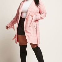 Plus Size Cutout Plaid Coat