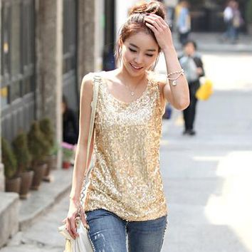Spring 2017 New Women Sleeveless T Shirts Ladies Sparkling Bling Singlets Sequined Tops Camisetas S M L XL