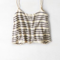 AEO Women's Cropped Stripe Cami (Navy)