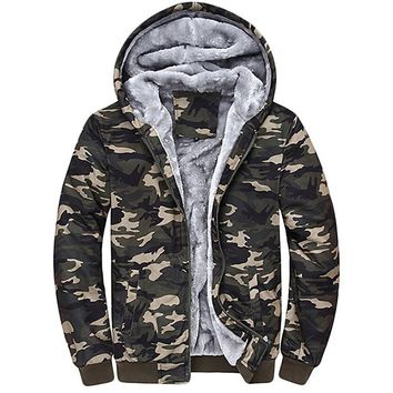 New Men's Fashion Camouflage Hoodies Warm Winter Sweatshirts Eco Sherpa Fleece Hoodie Jackets Thick Army Spring Portable Coat