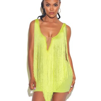 Very Special Love Fringe Neon Green Stretch Crepe Dress
