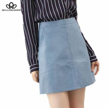 DK7G2 Bella Philosophy 2017 spring high waist Skrit PU faux leather women skirt pink yellow black green blue zipper mini skirt women