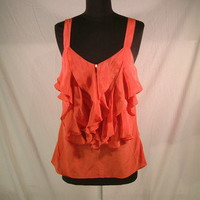 Anthropologie Pink ruffle front button silk tank top blouse by Lil sz 2 small